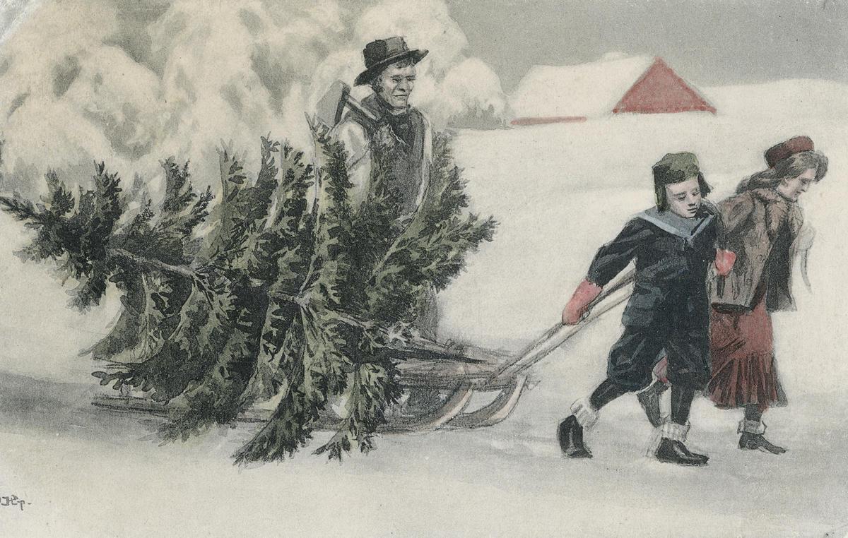 Postkort med juletremotiv (Foto/Photo)