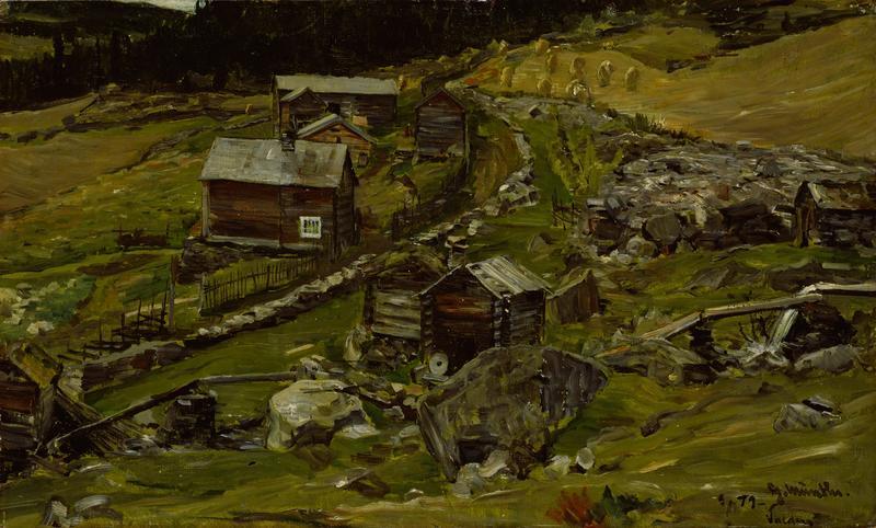 """Bondegård i Valdres"", 1879. Gerhard Munthe, Nasjonalmuseet. (Foto/Photo)"