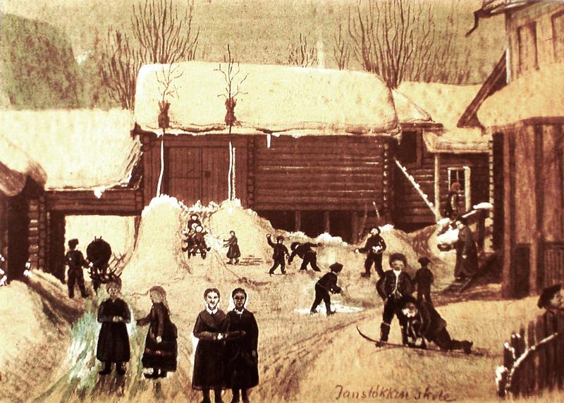 Jansløkka skole med de gamle gårdshusene. Malt i 1884 av Otto Valstad. skolebygningen til høyre. Skaugumsåsen i bakgrunnen (Foto/Photo)