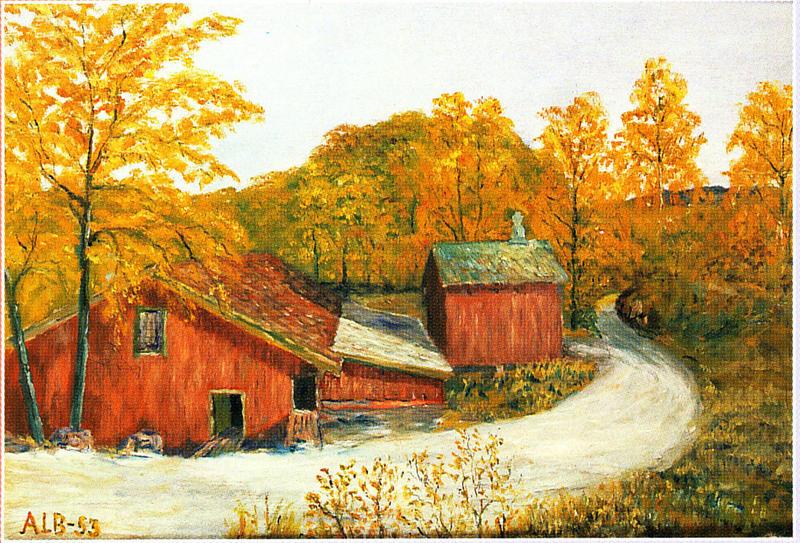 Høvleriet. Maleri av Albert Seheim, 1953.