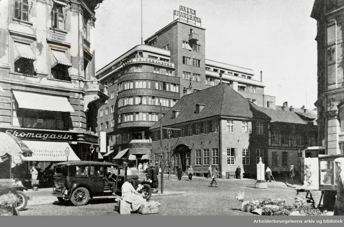 """Oslo: Grensen. Reproduksjon fra """"Byen vår"""", utgitt 1948."""
