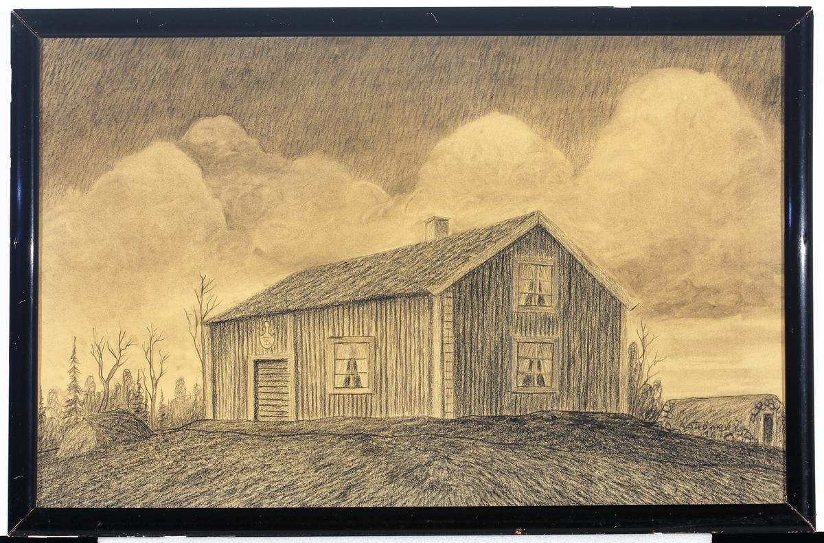 Teckning av författaren Vilhelm Mobergs barndomshem, soldattorpet i Moshultamåla.