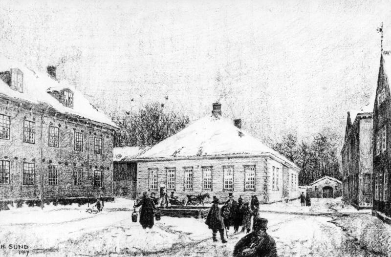 Idéskisse for Gamlebyen, tegnet av arkitekt Harald Sund, etter Hans Aalls forslag. Presentert i Aftenposten 6. april 1916.