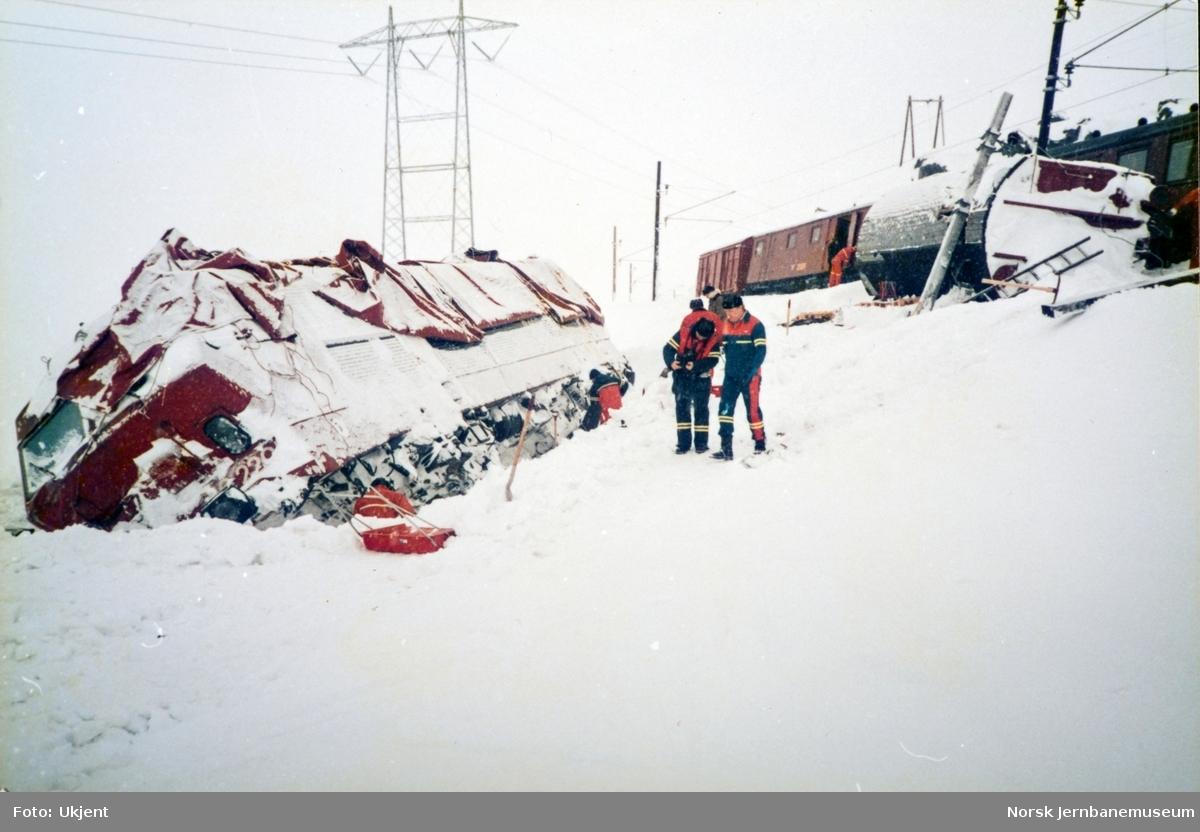 Avsporet elektrisk lokomotiv El 16 2205 ved Oksebotn mellom Finse og Haugastøl. Lokomotivet og fem godsvogner sporet av etter å ha kjørt inn i en stor snøfonn.