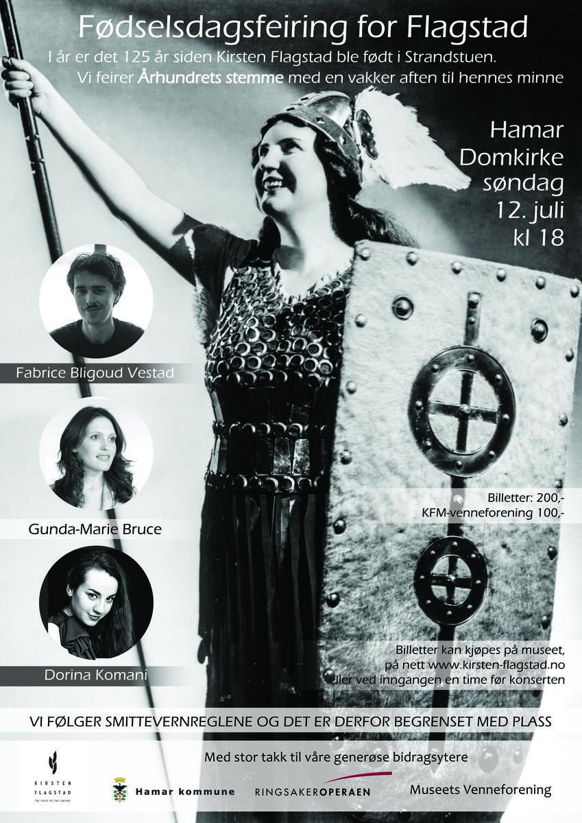 Plakat jubileumskonsert og fødselsdagsfeiring Kirsten Flagstad 2020