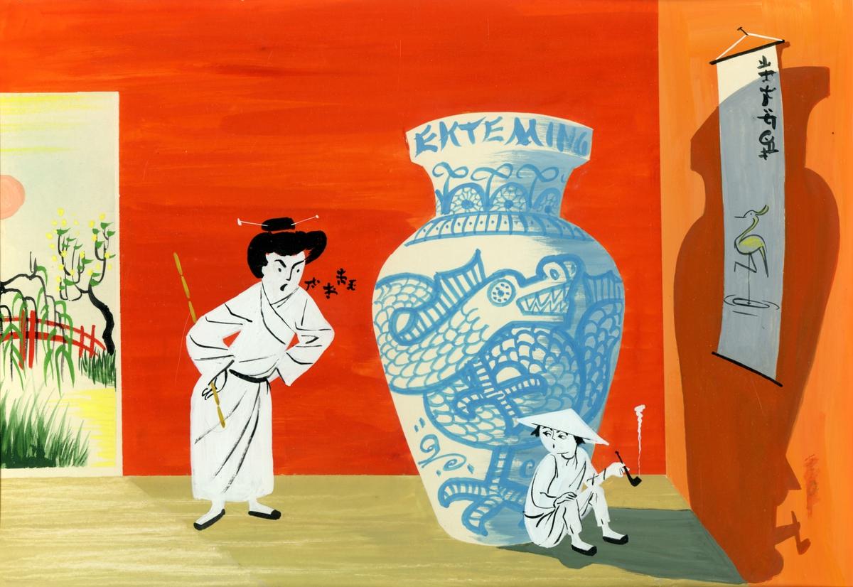 Akvarell av kvinne og gutt. Humoristisk.