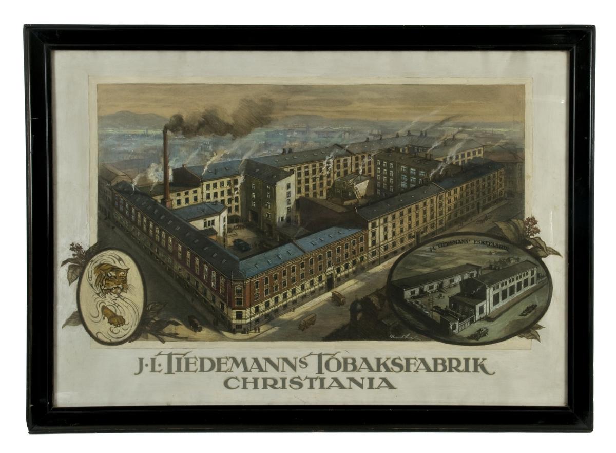 Maleri av Tiedemanns Tobaksfabrik i Stensberggaten, eskefabrikken i Bergensgate og fabrikkens logo før 1928.