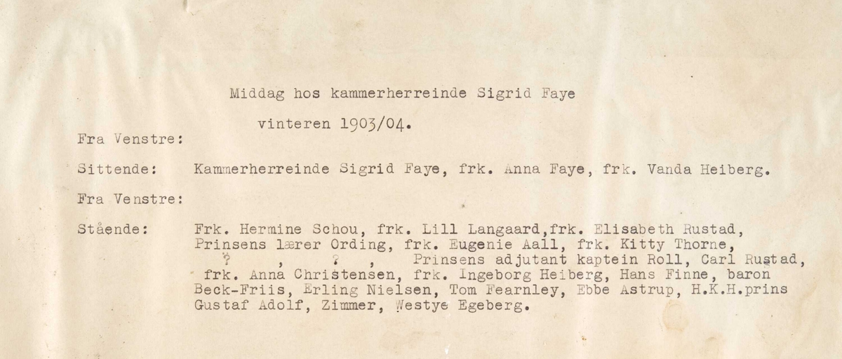 Fotografi fra salongen hos kammerherrinde Sigrd Faye vinteren 1903/04.